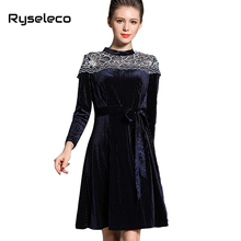 Ryseleco Women New Winter Sexy Cutout Embroidery Dot Pleuche Casual Dresses OL Elegant Big Swing Flare Basic Velvet Midi Vestido(China)