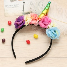 Girls Barrettes Unicorn Horn Headband Kids Rainbow Flower unicorn Hairband for Xmas Party Gift Hair Accessories
