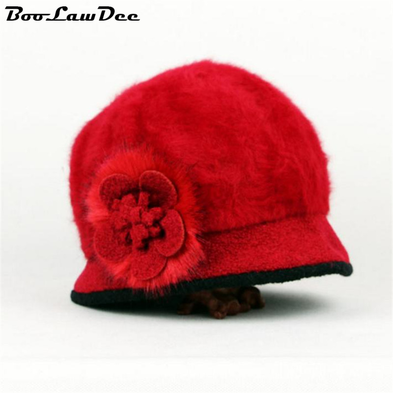 BooLawDee Spring Autumn women formal wool blends beanies floral thicken soft bandhnu dyeing red pink beige free size 4E049Одежда и ак�е��уары<br><br><br>Aliexpress
