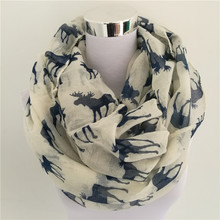 New Moose Infinity Scarf Loop Snood For Women/Ladies elk print circle scarves animal deer bandana long scarf for Christmas(China)