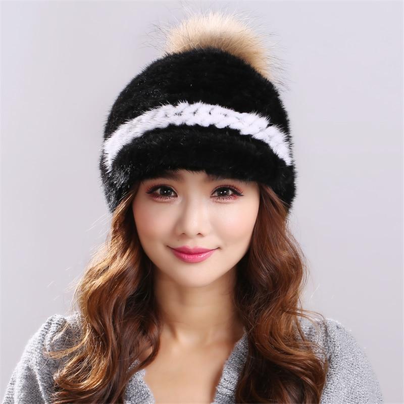Warm comfortable Natural Knitted Minks Fur Hats Female Genuine Winter Women Headgear women Beanies gorros mujer invierno#H9017Одежда и ак�е��уары<br><br><br>Aliexpress