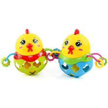1PC Rattles Handbell Chicken Musical Instrument Rhythm Shaking Baby Toy Chicken Jingle Bell Kid Educational Musical Random Color(China)