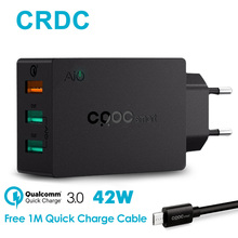 CRDC Quick Charge 3.0 USB Wall Charger 42W Fast Portable Mobile Phone Charger For iPhone iPad Xiaomi Samsung s7s6 etc USB Device(China)