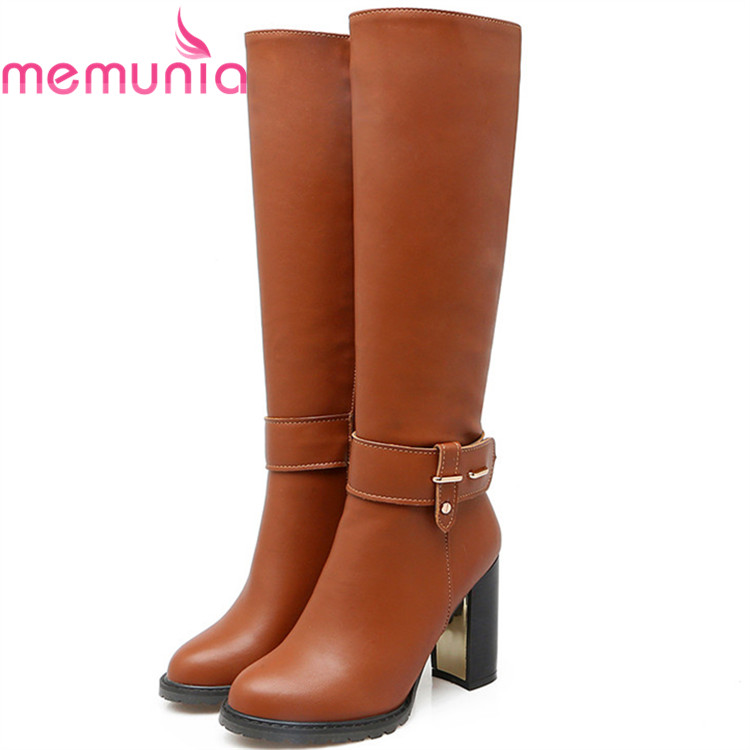 MEMUNIA PU soft leather knee high boots in autumn winter high heels shoes woman fashion boots female large size 34-43<br>