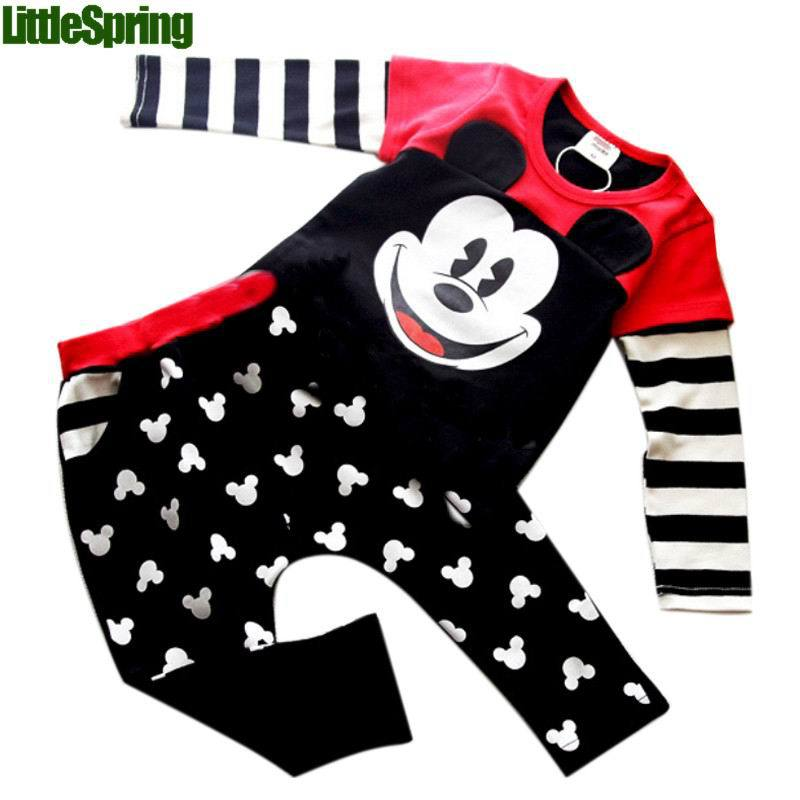 Cartoon minie Outfit Sets Baby Boys Girls Clothes Coat Top +Trousers Pants kids clothes children clothing<br><br>Aliexpress