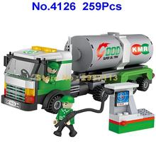 4126 259pcs City Oil Tanker Tank Truck Gas Station Cogo Building Block Brick Toy(China)