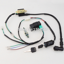 50cc 70cc 90cc 110cc 125CC CDI Ignition Coil NGK Spark Plug Wire Harness Wiring Set ATV Electric Quad FRE SHIPPING