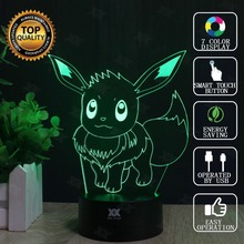 Eevee 3D Lamp Pokemon Go Seven Colors Cartoon LED Decorative Table Lamp USB Novelty Night Lights Child's Gift HUI YUAN Brand
