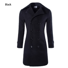 HOT Fashion 2015 New X-Long Men's Trench Coat Double Breasted Men Winter Overcoat Big Yards M-3XL Solid Men Wool Coat 3 Colors