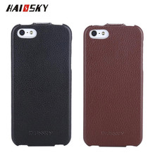 HAISSKY Genuine Cow Leather Phone Cases For Apple iPhone 4 4S 5 5S SE Shockproof Vintage Retro Luxury Flip Leather Case Cover(China)