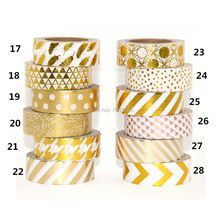High quality Gold foil 10m paper tape dot,strip,pineapple,heart Christmas decorative washi tape 1pcs