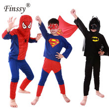 2017 Batman Superman Red Spiderman Cosplay Costumen for Kids Halloween Costumes for Boys Carnival Costume with Capes Mask(China)