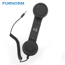FORNORM 3.5mm Radiationproof Receivers Retro Phone Telephone Handset Classic Headphone Microphone for Iphone PC Tablet(China)