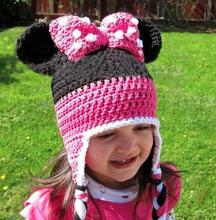 Cute infant toddler baby boys girls cartoon mouse bowknot crochet handmade knitted hat with ear flap cap 1 pcs