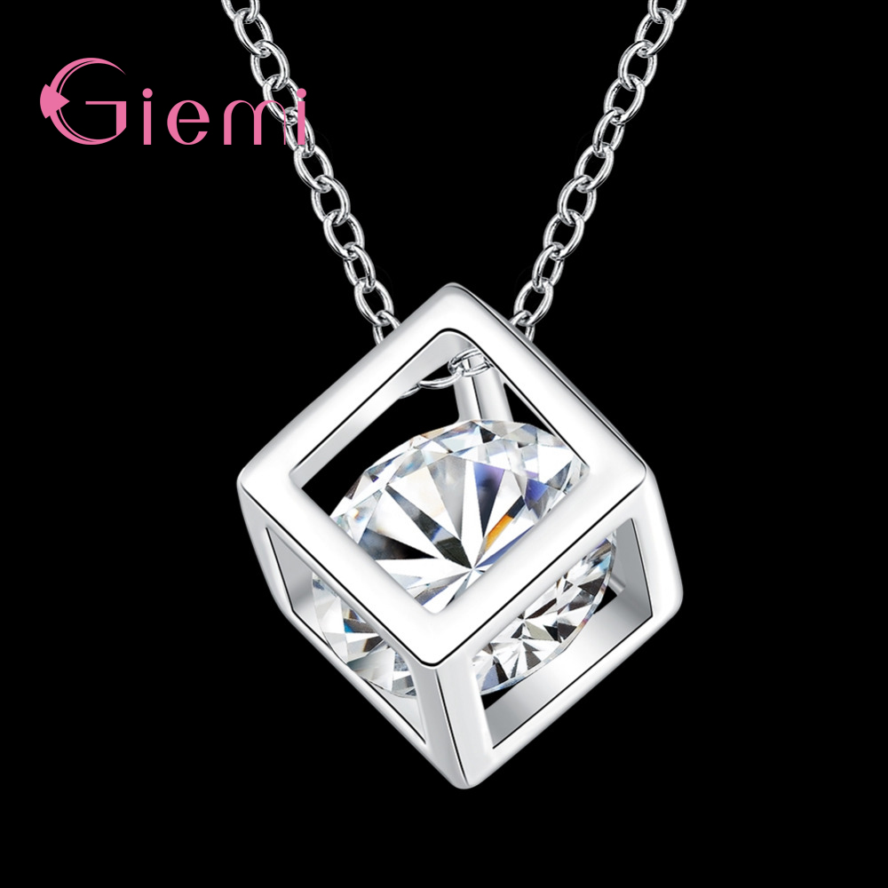 Simple-Style-Elegant-Women-Square-Shape-925-Sterling-Silver-Necklaces-New-Long-Cubic-Zirconia-Pendant-Fine