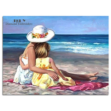 Diamond painting cross stitch people on beach embroidery with diamonds handcraft girl and mother picture of the diamonds mosaic(China)