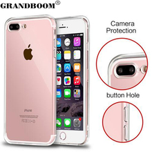 GRANDBOOM For iPhone 7 6 6S Plus 4.7 5.5 inch SE 5 5S Ultra Slim Crystal Clear Acrylic+TPU With Dust Plug Cover Case 10pcs/lot
