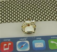 White angel cat button stickers mobile phone jewelry to paste the phone Home Button stickers for iPhone(China)
