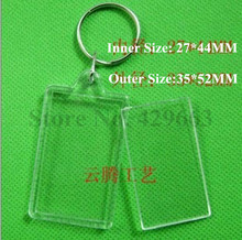 Free shipping 3pcs/lot Rectangular Transparent Blank Insert Photo Picture Frame Key Ring Split keychain