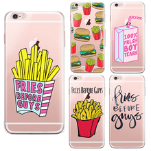 Hamburg French fries Graphic design Rubber Back Cover For iPhone 6 6s Phone Cases Ultra thin Transparent Soft TPU Shell