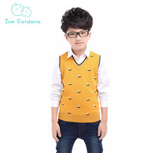 Zoe Saldana Boy's Vest Only 2017 New Baby Boy Clothes Casual Boat Pattern Waistcoats Teenager Knitted Woolen V-Neck Pullovers(China)