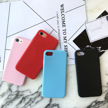 Phone Cases For iPhone 7 7 Plus 6 6S Plus Frosted Candy color Luxury soft Silicone matte TPU Fashion Cover For iPhone 5S SE Case