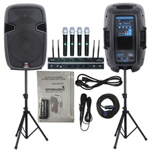 "STARAUDIO SSD-12A  Dual 2000W 12""  PA DJ Powered Active Speakers  W/ Stands  Cable 4 CH Microphone"