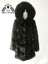 New genuine natural mink fur coat with hood fox fur women fashion long jacket outwear black color custom any size(China)