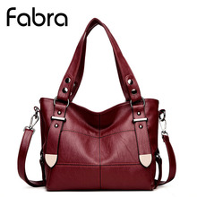Fabra Fashion PU Leather Women Handbag Tote Belt Shoulder Bag Burgundy Women Luxury Brand Rivet Messenger Crossbody Bag Hot Sell(China)