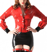 Buy Rubber School Mistress Blouse Red & Black Latex Shirt Sexy Apparels