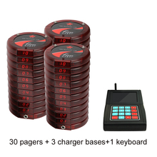 Wireless paging system coaster pager/1 keyboard+30 pcs of pagers+3 charger/wireless calling systems for restaurant, cafe, salon(China)
