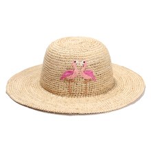 Fashion Flamingo Embroidery Women Sun Hats 2017 New Raffia Beach Hats For Girls Summer Chapeau Femme