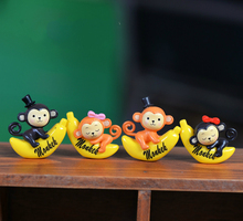6pairs/lot Cute Banana Monkey Moss Micro Landscape Resin Funny Ornament Fairy Garden Miniature Terrarium Figurine Decoration(China)