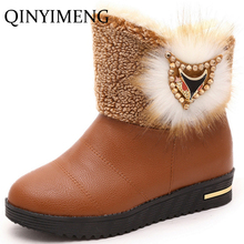 Shoes Winter Women 2016 Cartoon Fox Rhinestone Winter Boots Ladies Fashion Snow Boots Platform Wedge Snow Shoes Fur Ankle Shoes