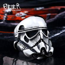Beier new store 316L Stainless Steel ring top quality New Star Wars storm trooper Mask ring fashion jewelry LLBR8-264R(China)