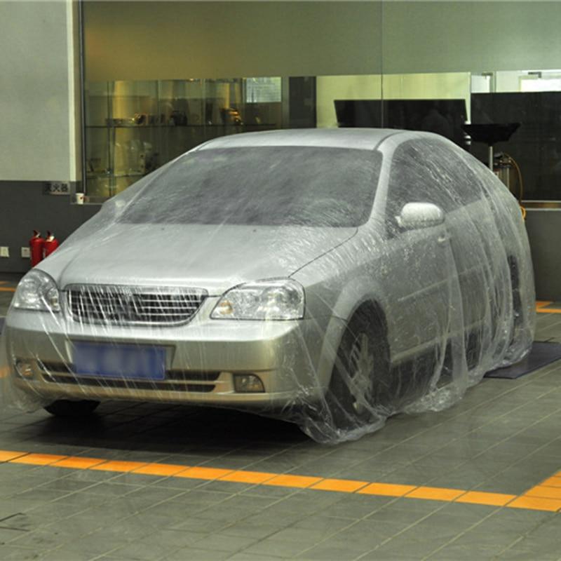 ครอบคลุมรถยนต์พลาสติกPEฟิล์มใสฝุ่นทิ้งรถปกทิ้งฝาครอบกันน้ำ 3