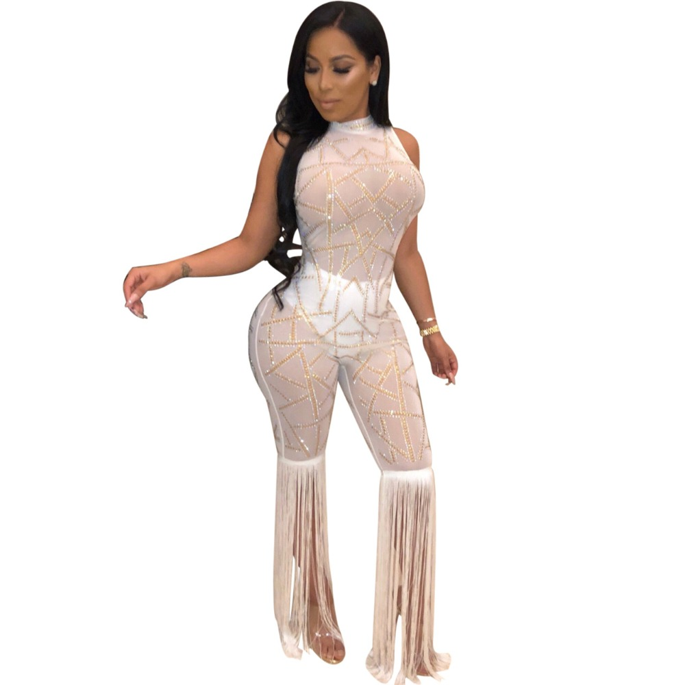 2018 new women winter geometric sequined mesh see though sleeveless tassel long pants sexy bodycon jumpsuit romper playsuit M850