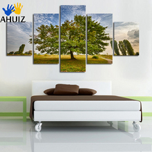 Unframed Wall Art setting sun Sunshine HD Picture Home Decoration Canvas Print Green Tree Grassland Scenery Paintings A123