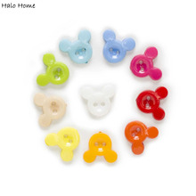 100pcs 4 Hole Resin Mickey Mouse Avatar Cartoon Buttons Clothing Decor Home Sewing Scrapbooking 15x13mm