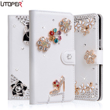 Luxury Rhinestone Diamond PU Leather Cover For Xiaomi Mi4i Mi 4i / Xiaomi Mi4c Mi 4c Phone Cases Stand Flip Wallet +Card Slot