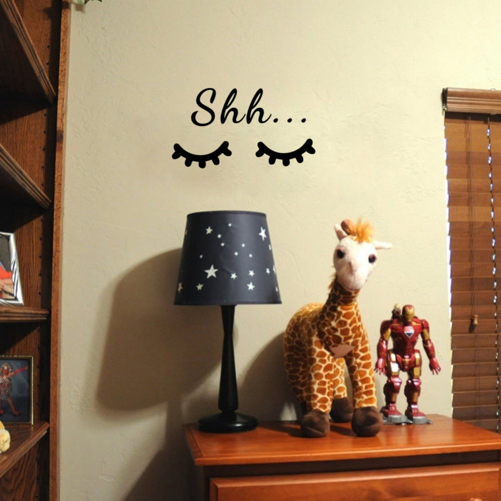 HTB1_PP2a3fN8KJjSZFIq6A0UFXan Quote Sleep Eyelash Art Wall Decal for Kids Room