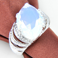 Hot New Desgin Egg-white Moonstone Horse Eye Shape Lace Rings for Women Free Shipping r0269