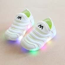 2018 candy color slip on children shoes LED lighted cool baby girls boys shoes hot sales kids baby sports glowing sneakers(China)