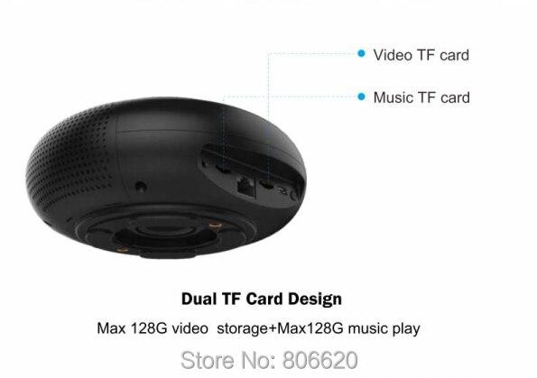 Panoramic 180 Degree 1080P HD Wifi IP Camera Built-in 5W Hifi System Bluetooth Speaker Internet Music byFree App Remote Control_F7