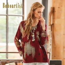 Bohoartist Burgundy Women Print Sweater Fall Women Pullover Sweater with Pocket 2017 O-Neck Women Color Block Sweater with Star(China)