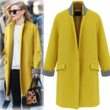 UK ZA Style Brand New Fashion 2017 Fall / Winter Yellow Navy Simple Woolen Stand Collar long Coat Women Overcoat manteau femme