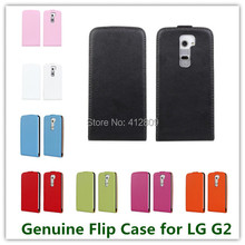 11 Colors Fashion Genuine Leather Flip Vertical Back Skin Cover Case for LG G2 D802 High Quality Cellphone Bags Free