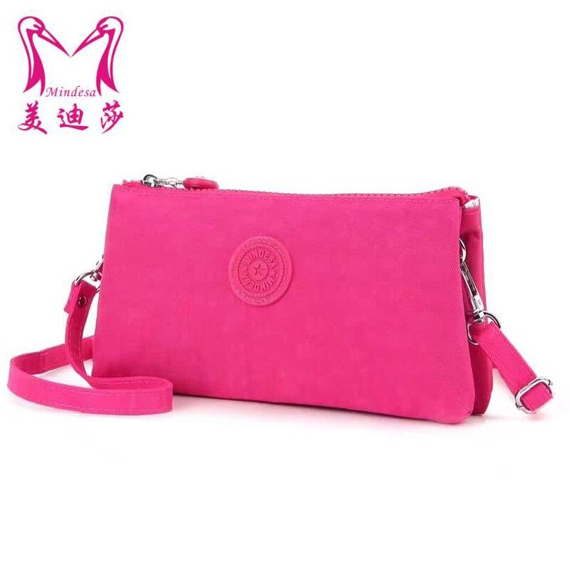 2017 New Red Mini Ladies Nylon Messenger Bag Solid Slim Wristlets Day Clutch Handbag 2Layer Pocket Designer Crossbody Bag<br><br>Aliexpress