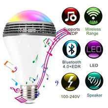 New Smart Wireless Bluetooth 4.0  Audio Speakers Lamp Dimmable E27 LED RGB Light Music Bulb Color Changing via WiFi App Control