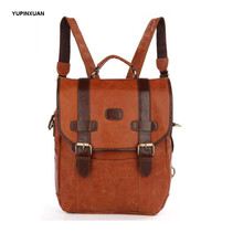 YUPINXUAN Genuine Leather Backpacks Women Brown Leather Back Packs with Good Quality Hasp Cowhide Zipper Backpack Russia Markets